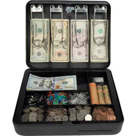 "royal sovereign deluxe cash box rscb-300, 13-compartment, tray, 11-13/16""wx9-1/2""d x 3-11/16""h black Royal Sovereign Deluxe Cash Box RSCB-300, 13-Compartment, Tray, 11-13/16""Wx9-1/2""D x 3-11/16""H Black"