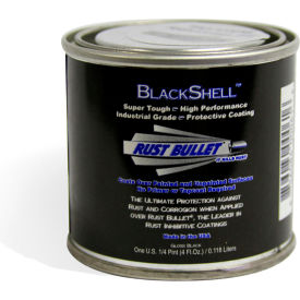 rust bullet blackshell protective coating and topcoat 1/4 pint can 24/case bsqp-c24 Rust Bullet BlackShell Protective Coating and Topcoat 1/4 Pint Can 24/Case BSQP-C24