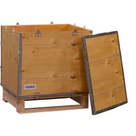 "global industrial™ 4-panel hinged shipping crate with lid & pallet, 24"" x 20"" x 25"" o.d. Global Industrial™ 4-Panel Hinged Shipping Crate with Lid & Pallet, 24"" x 20"" x 25"" O.D."