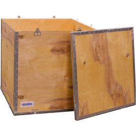 "global industrial™ 4-panel hinged shipping crate with lid, 32"" x 24"" x 24"" o.d. Global Industrial™ 4-Panel Hinged Shipping Crate with Lid, 32"" x 24"" x 24"" O.D."