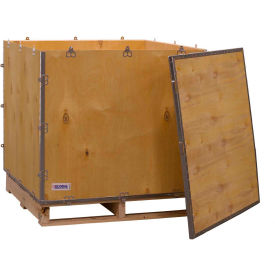 "global industrial™ 4-panel hinged shipping crate with lid & pallet, 36"" x 36"" x 36"" o.d. Global Industrial™ 4-Panel Hinged Shipping Crate with Lid & Pallet, 36"" x 36"" x 36"" O.D."