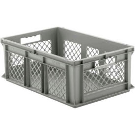 "EF6221.GY1 SSI Schaefer Euro-Fix Solid Base/Mesh Sides Container EF6221 - 24"" x 16"" x 8"", Gray"