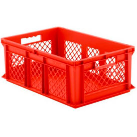 "EF6221.RD1 SSI Schaefer Euro-Fix Solid Base/Mesh Sides Container EF6221 - 24"" x 16"" x 8"", Red"