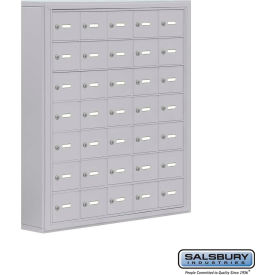 "19075-35ASK Cell Phone Storage Locker, Surface Mounted, 7 Door High, 5""D, Keyed Locks, 35 A Doors, Aluminum"