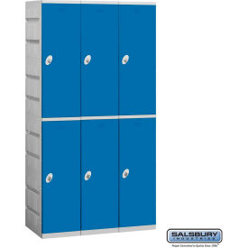 "92368BL-U Salsbury Plastic Locker, Double Tier, 3 Wide, 12-3/4""W x 18""D x 36-1/2""H, Blue, Unassembled"