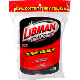 590 Libman Commercial High Power; 100% Cotton Premium White Shop Towels, 12 Pack - 590