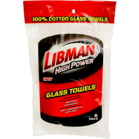592 Libman Commercial High Power; 100% Cotton White Glass Towels, 6 Pack - 592