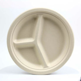 "total papers eco-friendly 3 compartment round plates, 10"", wheat stalk fiber, 500 pcs. Total Papers Eco-Friendly 3 Compartment Round Plates, 10"", Wheat Stalk Fiber, 500 pcs."