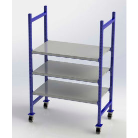"FCMFS52283 UNEX FCMFS52283 Flow Cell Mobile Pick Tray Rack, 3 Flat Steel Shelves, 52""W x 28""D x 72""H"