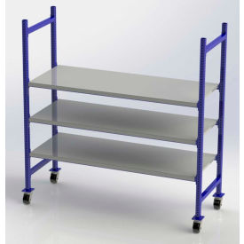 "FCMFS76283 UNEX FCMFS76283 Flow Cell Mobile Pick Tray Rack, 3 Flat Steel Shelves, 76""W x 28""D x 72""H"