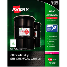 avery® full-sheet ghs chemical waterproof & uv resistent labels, laser, letter, 50/box Avery® Full-Sheet GHS Chemical Waterproof & UV Resistent Labels, Laser, Letter, 50/Box