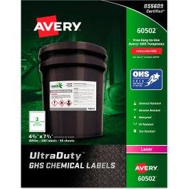 "avery® ghs chemical waterproof & uv resistent labels, laser, 4-3/4"" x 7-3/4"",100/box Avery® GHS Chemical Waterproof & UV Resistent Labels, Laser, 4-3/4"" x 7-3/4"",100/Box"
