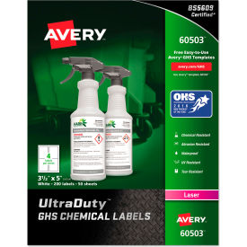 "avery® ghs chemical waterproof & uv resistent labels, laser, 3-1/2"" x 5"", 200/box Avery® GHS Chemical Waterproof & UV Resistent Labels, Laser, 3-1/2"" x 5"", 200/Box"