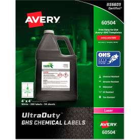 "avery® ghs chemical waterproof & uv resistent labels, laser, 4"" x 4"", 200/box Avery® GHS Chemical Waterproof & UV Resistent Labels, Laser, 4"" x 4"", 200/Box"