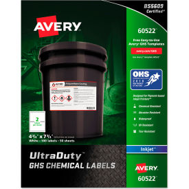 "avery® ghs chemical waterproof & uv resistent labels, inkjet, 4-3/4"" x 7-3/4"", 100/pack Avery® GHS Chemical Waterproof & UV Resistent Labels, Inkjet, 4-3/4"" x 7-3/4"", 100/Pack"