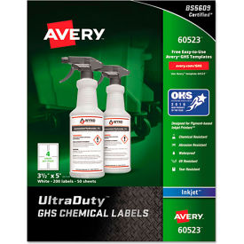 "avery® ghs chemical waterproof & uv resistent labels, inkjet, 3-1/2"" x 5"", 200/pack Avery® GHS Chemical Waterproof & UV Resistent Labels, Inkjet, 3-1/2"" x 5"", 200/Pack"