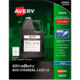 "avery® ghs chemical waterproof & uv resistent labels, inkjet, 4"" x 4"", 200/pack Avery® GHS Chemical Waterproof & UV Resistent Labels, Inkjet, 4"" x 4"", 200/Pack"