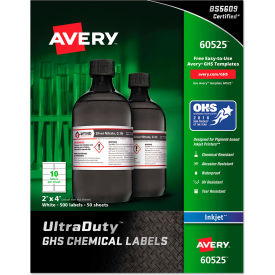 "avery® ghs chemical waterproof & uv resistent labels, inkjet, 2"" x 4"", 500/pack Avery® GHS Chemical Waterproof & UV Resistent Labels, Inkjet, 2"" x 4"", 500/Pack"