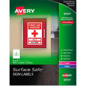 "avery® surface safe sign labels, 5"" x 7"", white, 30/pack Avery® Surface Safe Sign Labels, 5"" x 7"", White, 30/Pack"