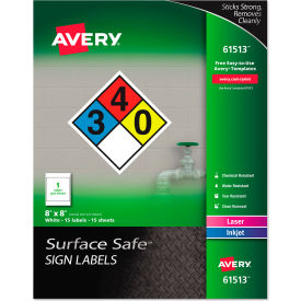 "avery® surface safe sign labels, 8"" x 8"", white, 15/pack Avery® Surface Safe Sign Labels, 8"" x 8"", White, 15/Pack"