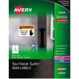 "avery® surface safe sign labels, 3-1/2"" x 5"", white, 60/pack Avery® Surface Safe Sign Labels, 3-1/2"" x 5"", White, 60/Pack"