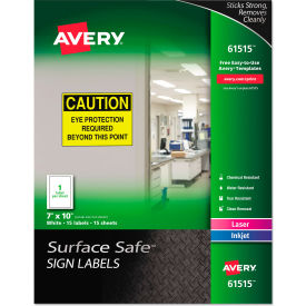 "avery® surface safe sign labels, 7"" x 10"", white, 15/pack Avery® Surface Safe Sign Labels, 7"" x 10"", White, 15/Pack"
