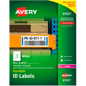 "avery® permanent id labels with trueblock technology, laser, 3-1/4""  x 8-3/8"" , 150/pack Avery® Permanent ID Labels with TrueBlock Technology, Laser, 3-1/4""  x 8-3/8"" , 150/Pack"