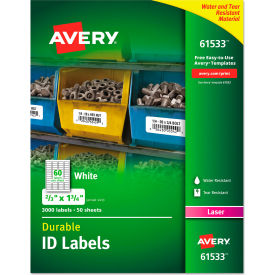 "avery® permanent id labels with trueblock technology, laser, 2/3""  x 1-3/4"" , 3000/pack Avery® Permanent ID Labels with TrueBlock Technology, Laser, 2/3""  x 1-3/4"" , 3000/Pack"