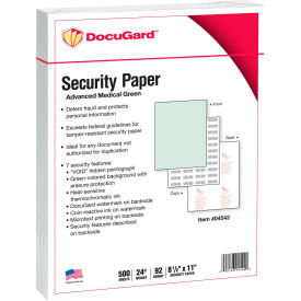 "docugard™ medical security papers, 8-1/2"" x 11"", 24 lb., green, 500 sheets/ream DocuGard™ Medical Security Papers, 8-1/2"" x 11"", 24 lb., Green, 500 Sheets/Ream"