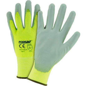 HVY713SUTS/L Touch Screen Hi Vis Yellow Nylon Shell Coated Gloves, Gray PU Palm Coat, Large