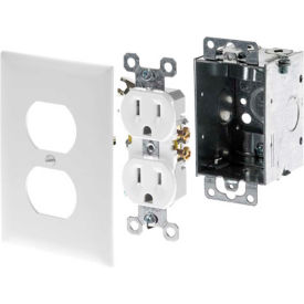 legrand® f7526 ac power kit (electrical box, white duplex receptacle, white faceplate Legrand® F7526 AC Power Kit (Electrical Box, White Duplex Receptacle, White Faceplate