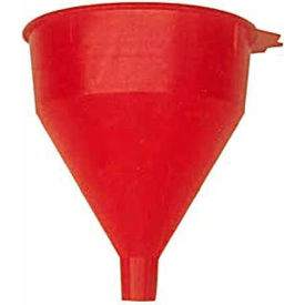 Funnel King® Red Safety Polyethylene 2 Quart Funnel w/ 60 Micron Filter Screen - 32002