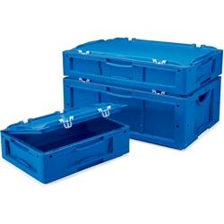 "Schaefer Attached-Lid Container LTBDH4220.BL1 w/2 Piece Lid - 16""L x 12""W x 9""H - Blue Schaefer, Attached-Lid Container, LTBDH4220.BL, WGB1969174"