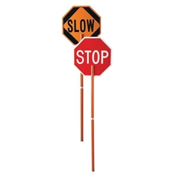 Stop & Slow Paddle Sign, Engineer-Grade Reflective