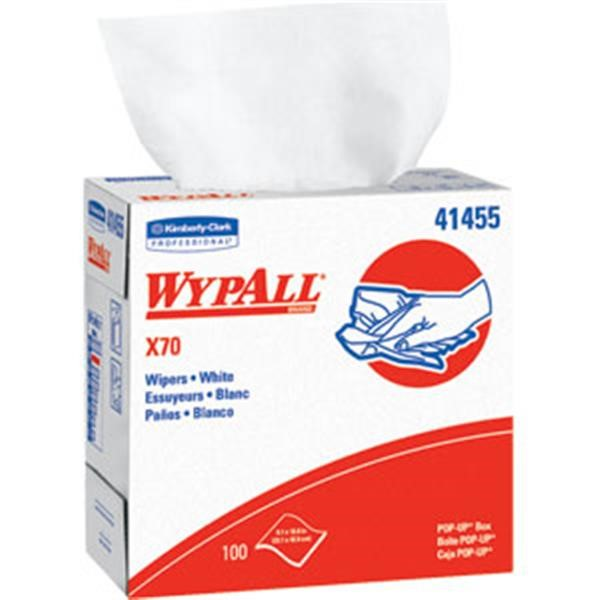 "WypAll* X70 Wipers, Pop-Up Box, 9 1/16"" x 16 13/16"", White, 10 Boxes/100 ea"