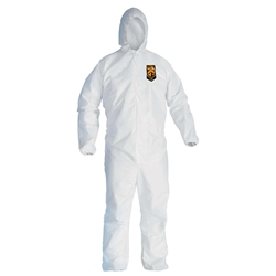 KleenGuard* A40 Liquid & Particle Coveralls w/ Hood, Elastic Wrists & Ankles, Large