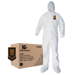 44335KC2 KleenGuard* A40 Liquid & Particle Protection Coveralls w/ Hood, Boots, & Elastic Wrists