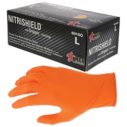 6016OMMG MCR Safety® NitriShield® Grippaz™ Disposable Nitrile Gloves, Powder-Free, 6 mil