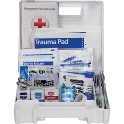 25-Person ANSI A Weatherproof First Aid Kit, Plastic w/ Dividers, 1/Each