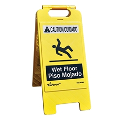 "TruForce™ ""WET FLOOR"" Caution Sign, Bilingual"
