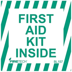 """First Aid Kit Inside"" Vinyl Sign"